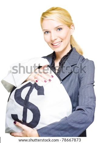 Rich Wealthy And Successful Business Woman Holds A Large Dollar Bag Of Cash And Coins In A Financial Planning Wealth And Money Conceptual, Isolated On White