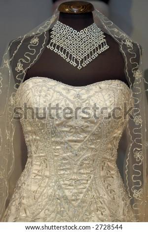 Rich wedding dress detail