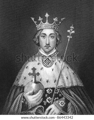 Richard II of England (1367-1400). Engraved by Bocquet and published in the Catalogue of the Royal and Noble Authors, United Kingdom, 1806.