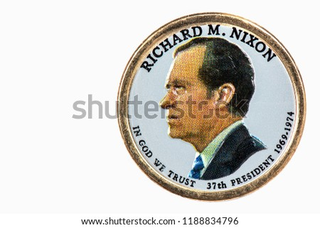 Richard M.nixon Presidential Dollar, USA coin a portrait image of RICHARD M. NIXON  IN GOD WE TRUST 37th PRESIDENT 1969-1974, $1 United Staten of Amekica, Close Up UNC Uncirculated - Collection