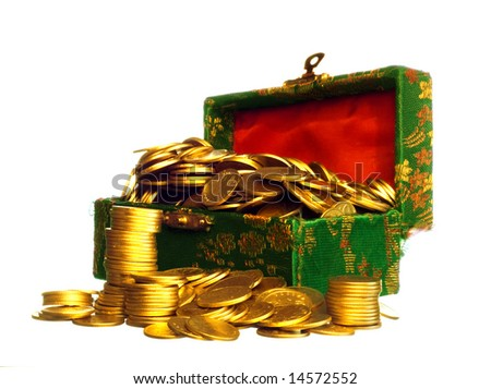 Riches, gold coins in a chest isolated on white