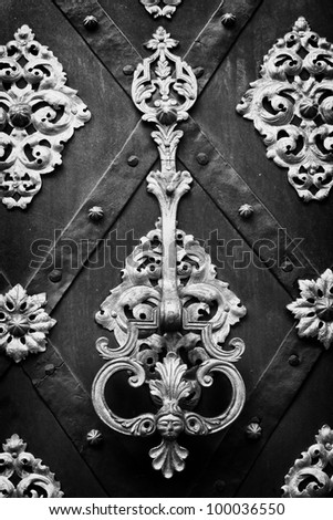 richly decorated doors with wrought iron, and knocker black and white