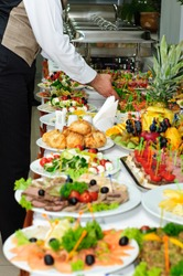 richly served banquet table