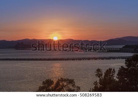 Richmond-San Rafael Bridge in California at sunset.
