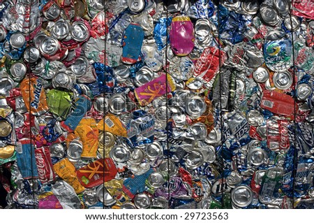 RICHMOND, VA - CIRCA 2009: Baled aluminum cans at an undisclosed recycling facility circa 2009 in Richmond. The cans will be shipped to an aluminum foundry.