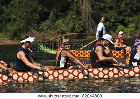 RICHMOND, VA - JULY 30:  Second annual Dragon Boat Race and Festival at Rockett's Landing on the James River in Richmond, Virginia. July 30, 2011