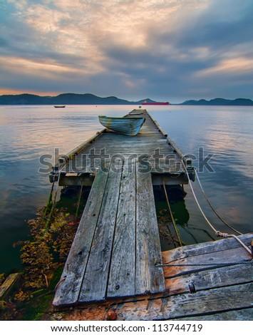 Rickety Island dock on Saturna Island in British Columbia Canada.