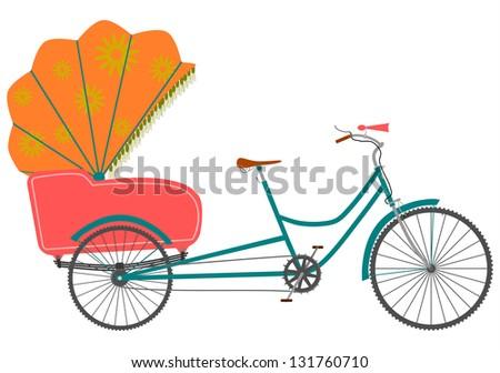 Rickshaw in a retro style on a white background. - stock photo