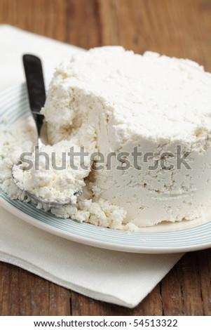 Ricotta, Italian cow milk whey cheese closeup