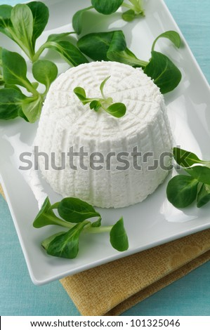 Ricotta with valerian in white dish