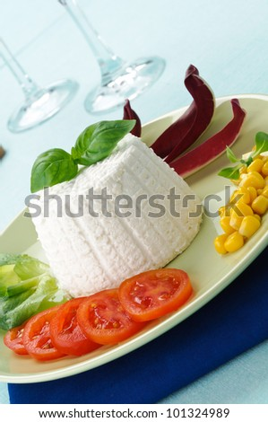 Ricotta with vegetables in the dish