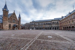 Ridderzaal in Dutch or the Knights hall and inner court of the Dutch parliament campus in The Hague, Netherlands
