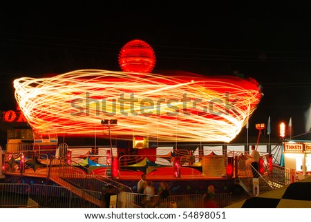 Ride at the county fair at night in Roseburg Oregon