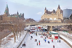 Rideau Canal skating rink in winter, Ottawa, Canada