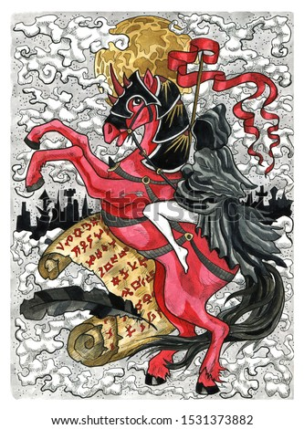 Rider. Girl in black cloak on horse against letter with evil symbols. Colorful graphic engraved illustration. Fantasy and mystic drawing. Gothic, occult and esoteric background for Halloween
