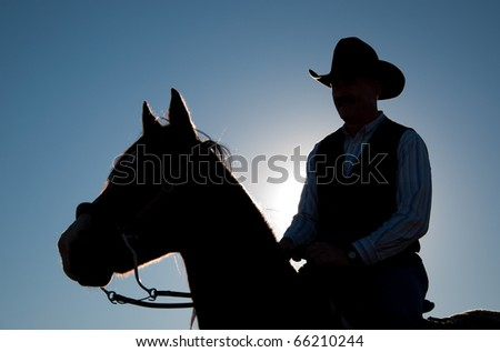 Rider in a cowboy hat and a horse silhouetted against sun and clear blue sky