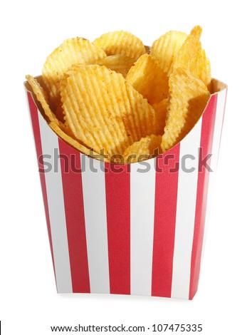 Ridged potato chips in red white cardboard box