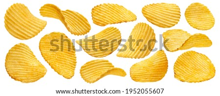 Ridged potato chips isolated on white background with clipping path, collection Stock photo ©