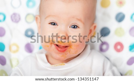 ridiculous funny baby eating dirty grimy