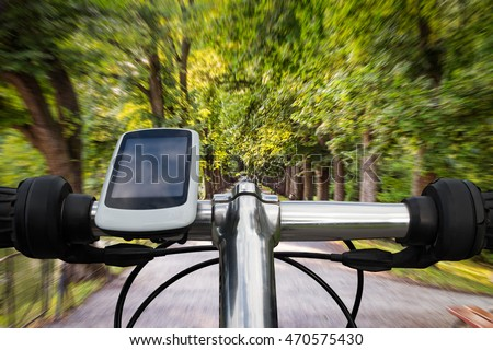 Riding a bike, speed concept, motion blur #470575430