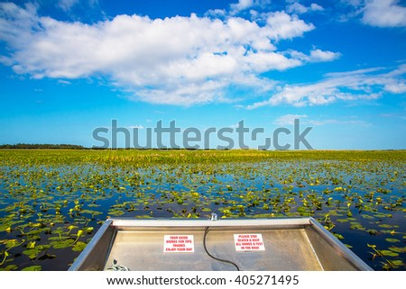 Stock Photo Riding in the Everglades - the natural region of wetlands in the southern portion of the U.S. state of Florida