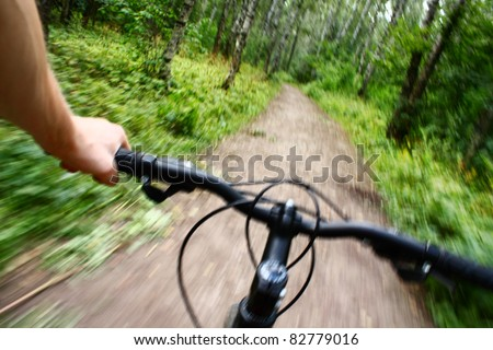 Riding mountain bike in forest
