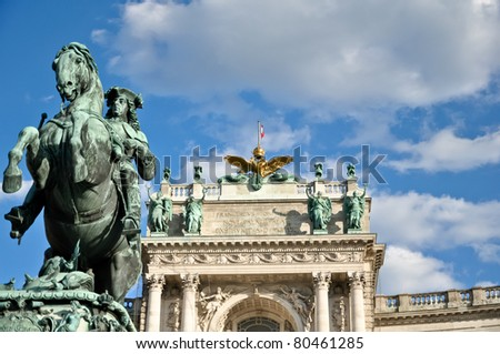 riding sculpture of prince eugene in front of the hofburg palace in vienna