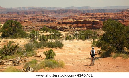 Riding the Colorado Overlook Trail at the Needles district of Canyonlands National Park.