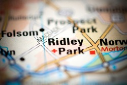 Ridley Park on a geographical map of USA