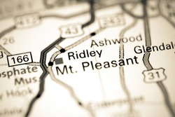 Ridley. Tennessee. USA on a map