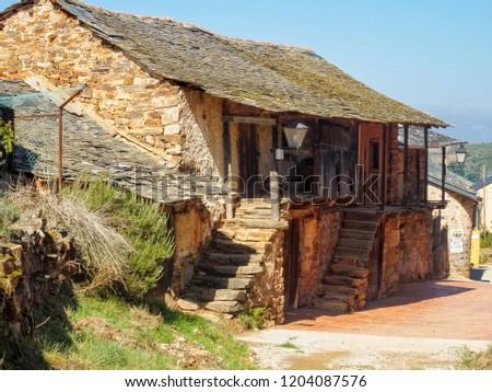 Riego de Ambros, Castile and Leon, Spain - September 25, 2014: A charming traditional house waiting for renovation  #1204087576