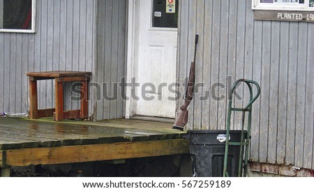 Rifle at the door of the house #567259189
