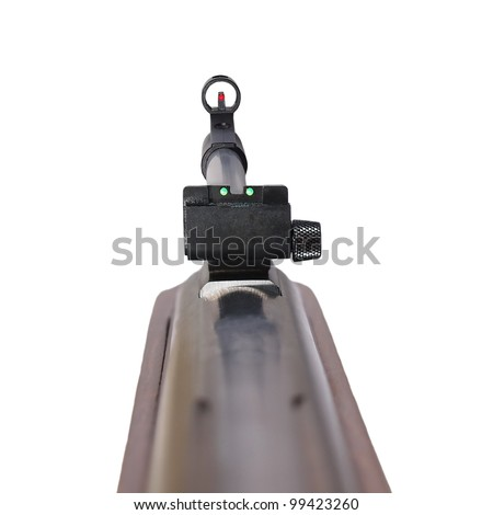 Rifle first person,  isolated on white background with clipping path. 3D photo