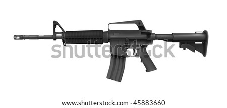 rifle in a white background