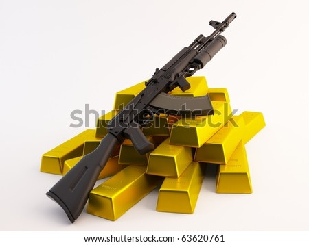Rifle on a pile of gold bars