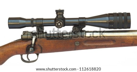 Rifle scope close-up side view isolated on white background