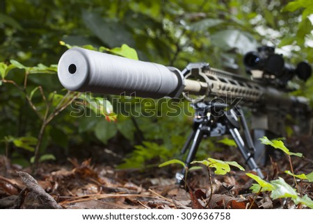Rifle with a silencer that is in a bunch of bushes #309636758