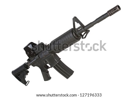 rifle with gunsight isolated on a white background