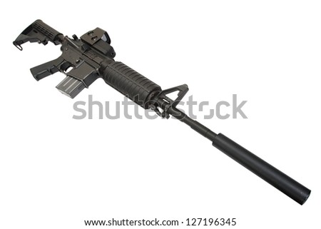 rifle with silencer isolated on a white background