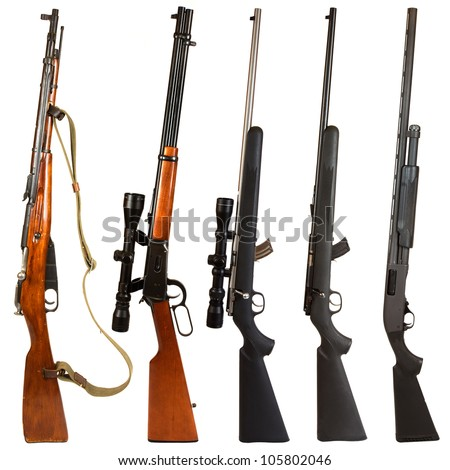 Rifles isolated on white background depicting a Russian Mosin Nagant, 30-30 Winchester rifle, 22. rifle with scope, 22.  rifle without a scope, and a black pump-action 12 gauge shotgun.