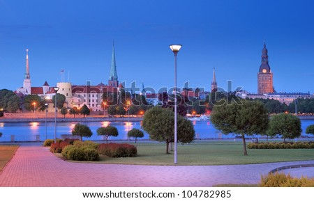 Riga Castle on quay of Daugava river in Riga, Latvia.