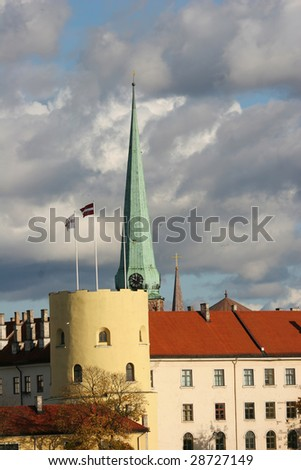 Riga castle. The castle is a residence for a president of Latvia (Old Town, Riga, Latvia)