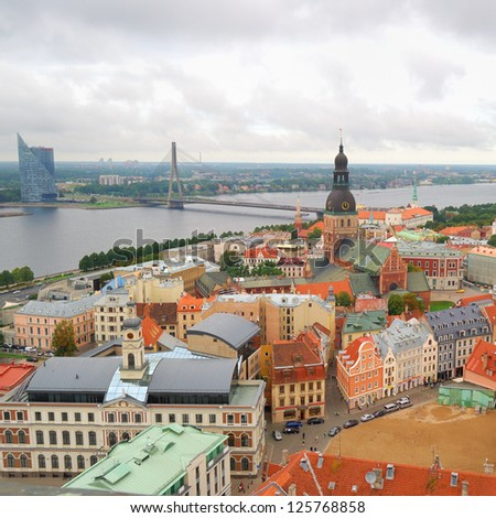 Riga center with Daugava river. View from above