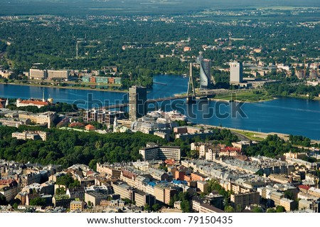 Riga City view from above, over river Daugava