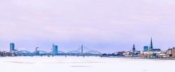 Riga cityline panorama from middle of river Daugava