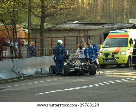 RIGA, LATIVA - MAY 2: Formula 3 racing car Crash during Baltic Touring Car Championship at Bikernieki motorsports track May 2, 2009 in Riga, Latvia