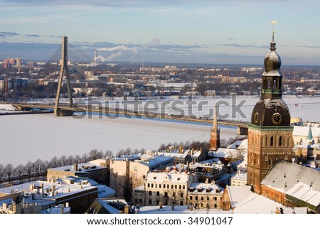 Riga, Latvia, Downtown view from the Sant Peter cathedral