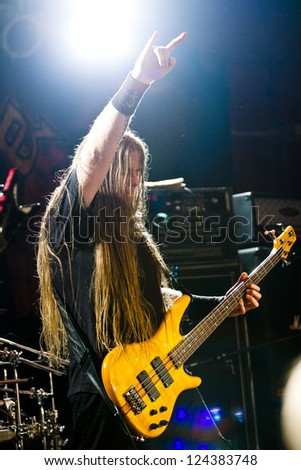RIGA, LATVIA - FEB 25: Todd Ellis from technical death metal band NILE performing at Black Friday's Club on February 25, 2011 in Riga, Latvia.
