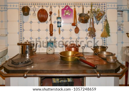 Riga, Latvia, January 18, 2018: Interior of Riga Art Nouveau Museum located on 12 Alberta street. Kitchen in apartment of Latvian architect Konstantins Peksens (Pekshens). Restored from 1903. #1057248659