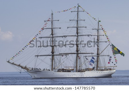 "RIGA, LATVIA - JUL 28: Brazilian tall ship Cisne Branco visits Riga during ""The Tall Ships Races 2013"" on July 28, 2013, in Riga, Latvia"